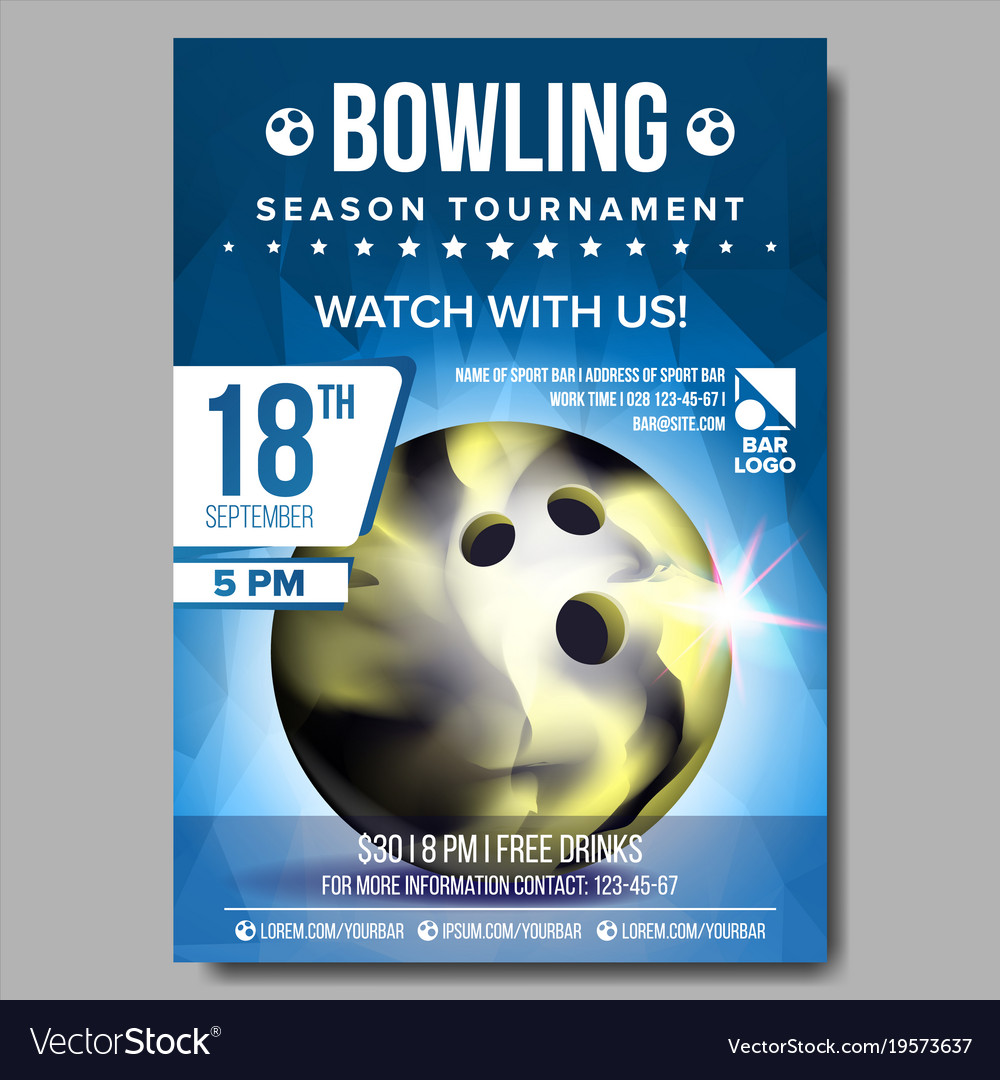 Bowling poster banner advertising sport