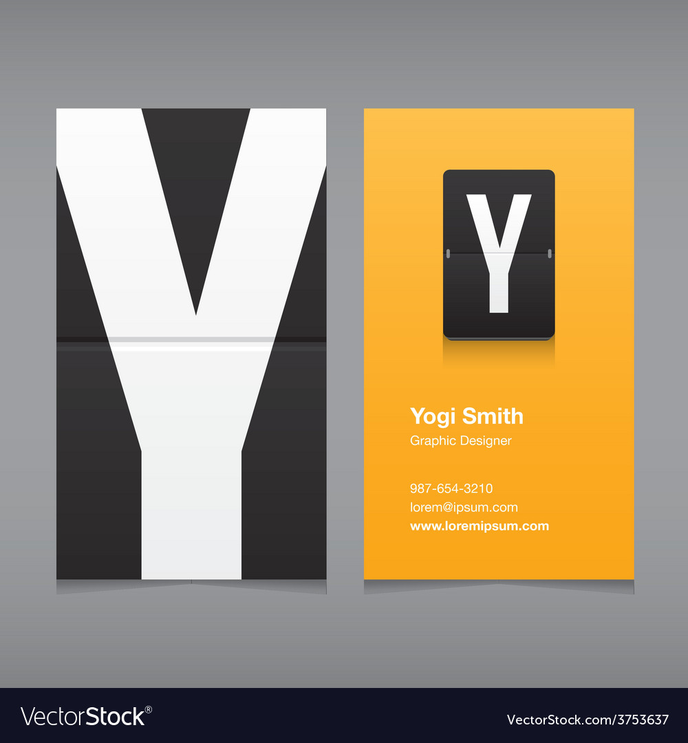 Business card letter Y