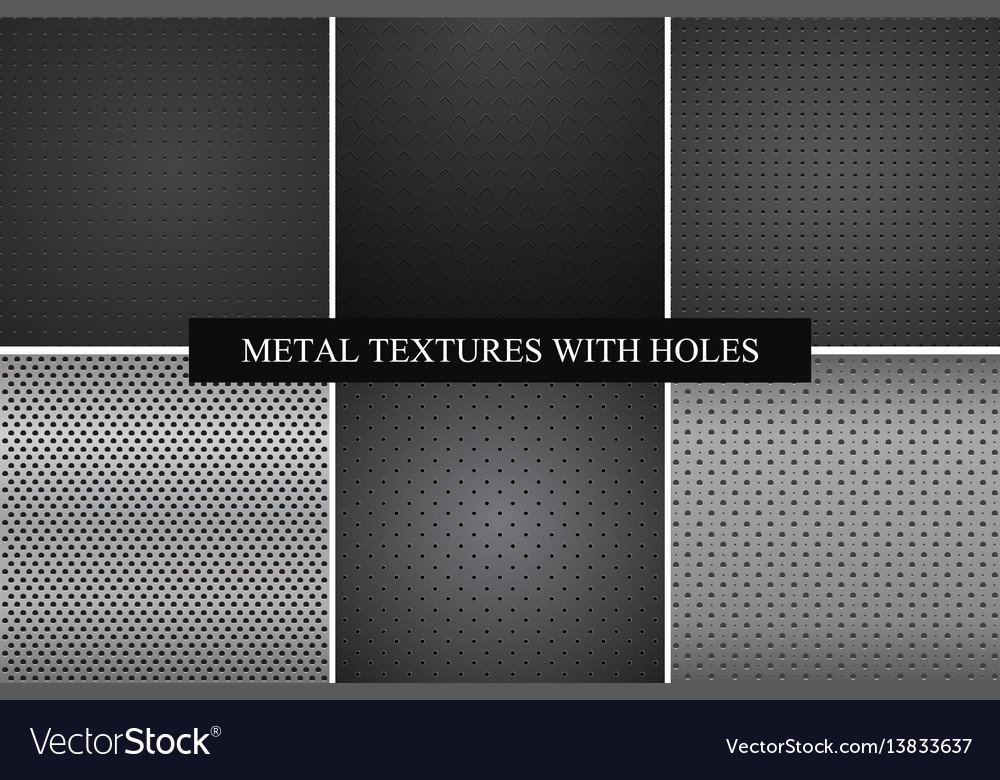 Collection of metal textures with holes vector image