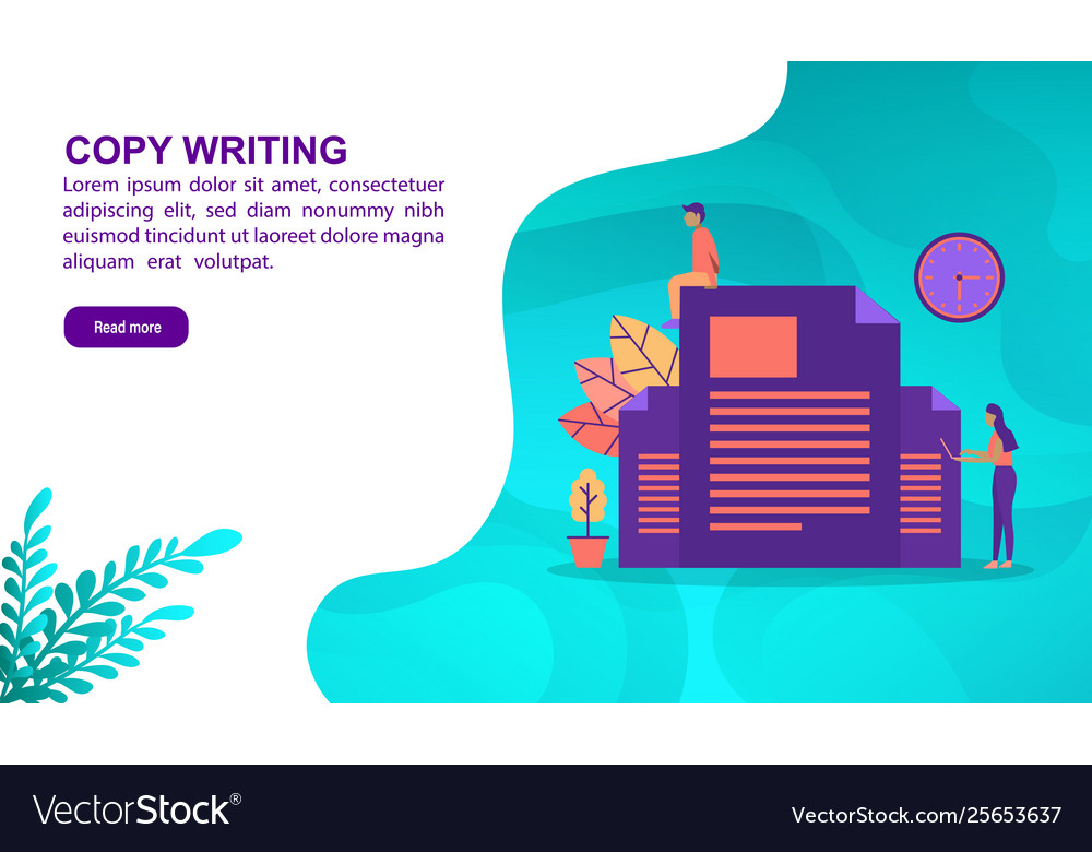 Copy writing concept with character template for