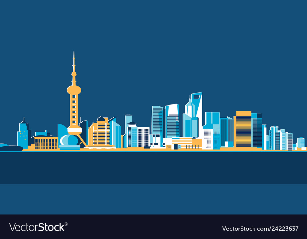 Hong kong big asian city skyscrapers flat design