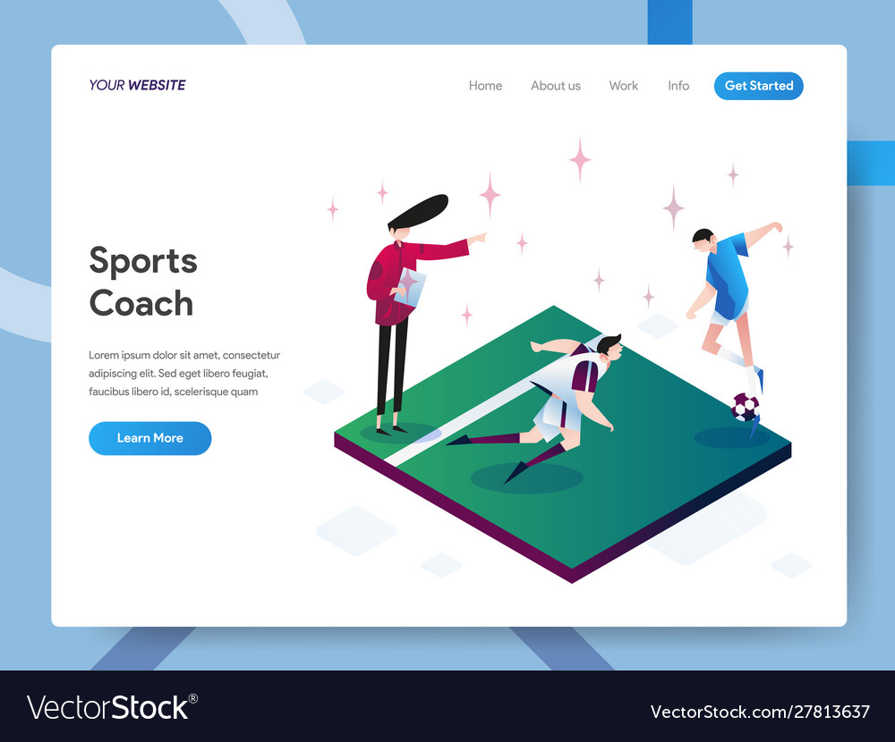 Landing page template sports coach isometric