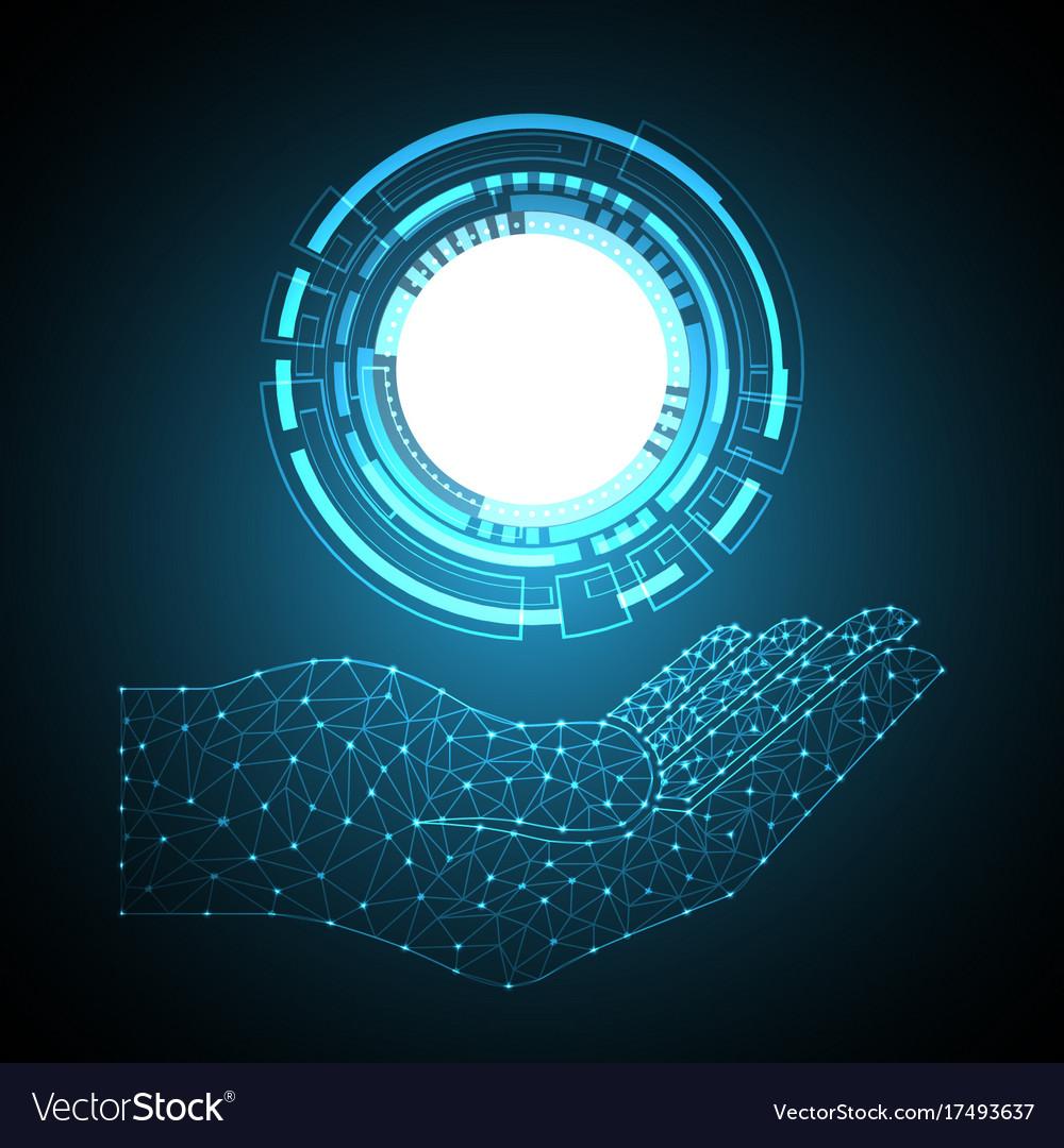 Polygon geometric hand holding technology circle