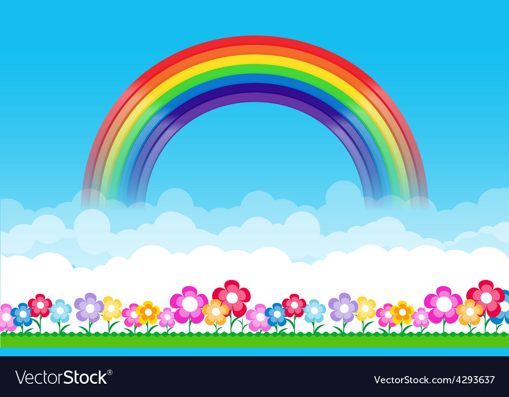 Rainbow on Nature background with green grass and