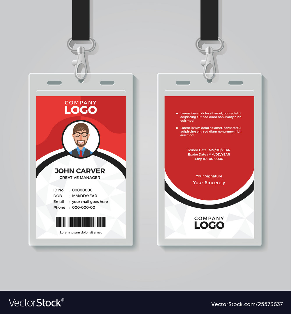 Red And White Office Id Card Template