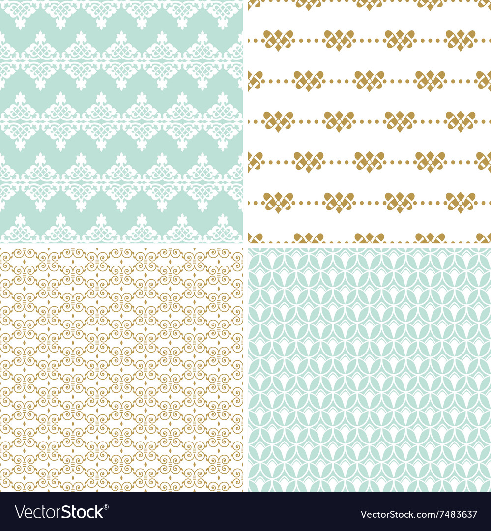 Seamless vintage floral background gold and pastel