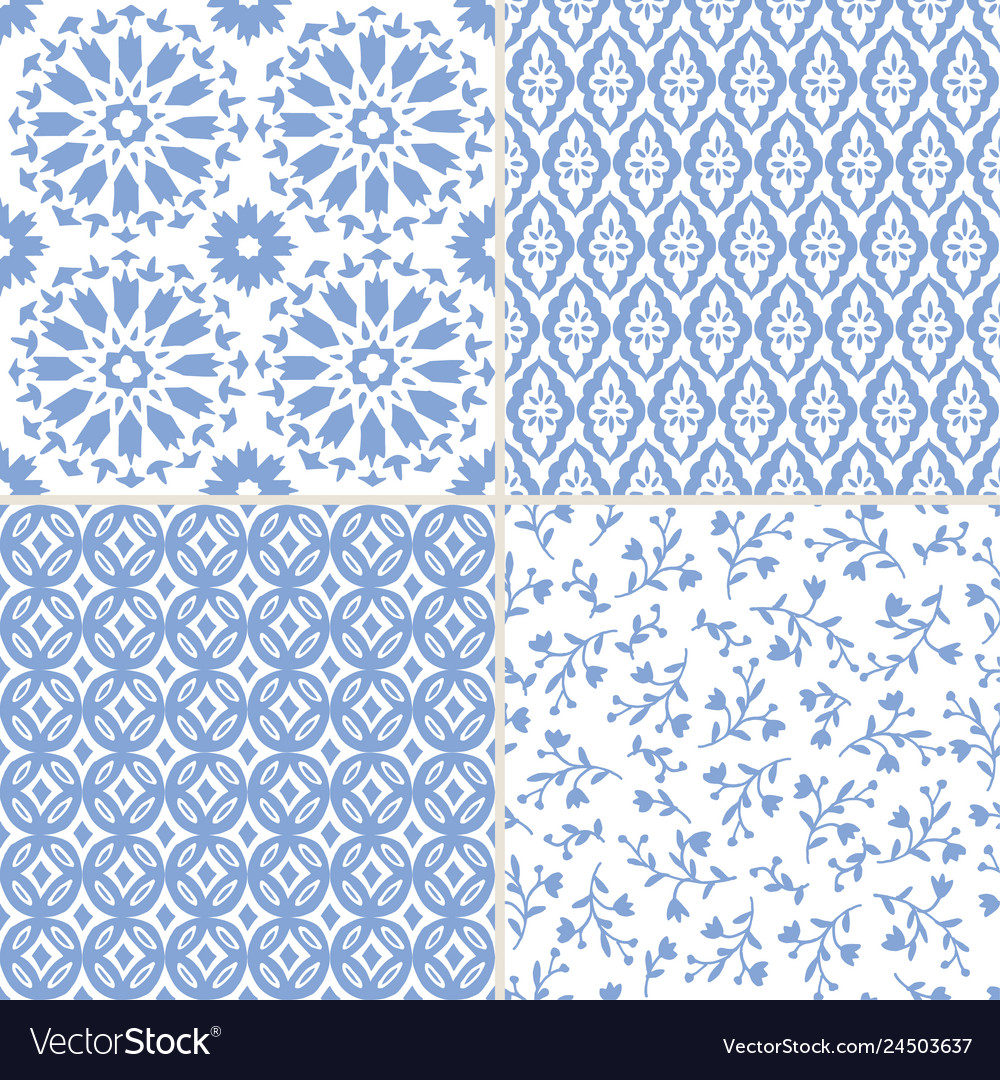Set of hand drawn blue moroccan seamless patterns