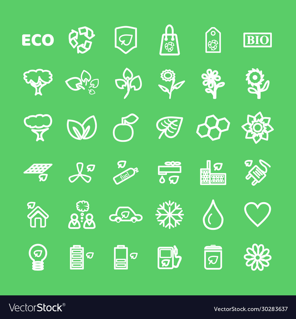 Set white eco icons on green in flat