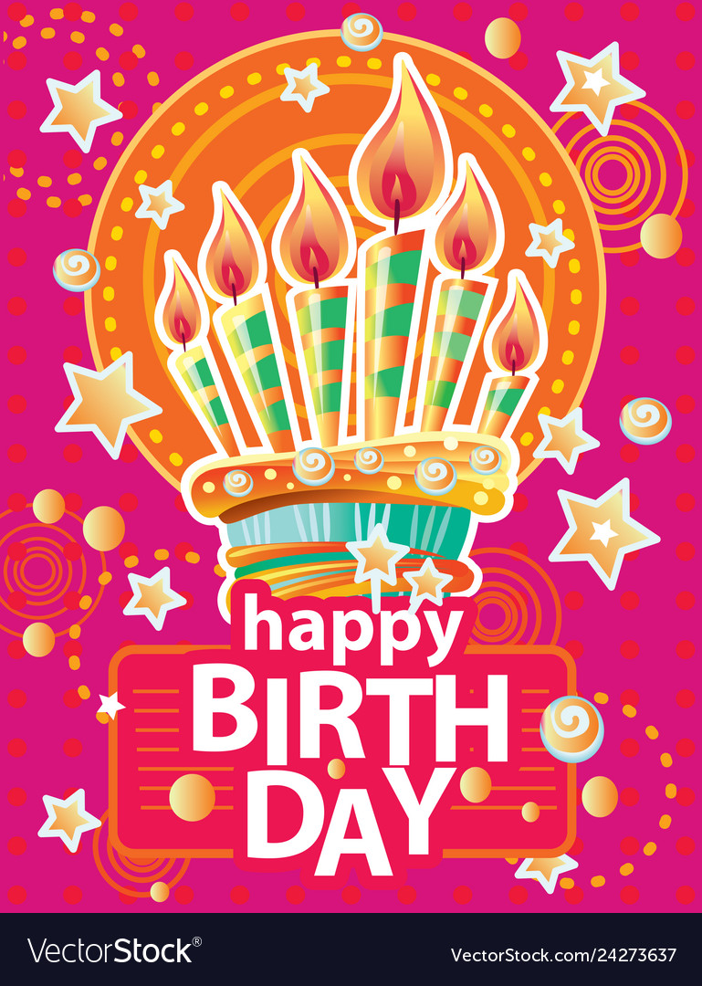 Template for card with birthday cake and candles