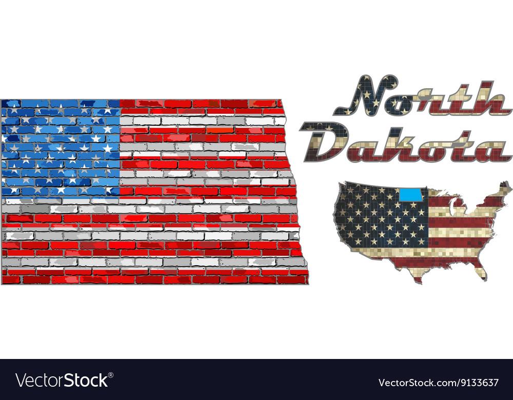 USA state of North Dakota on a brick wall