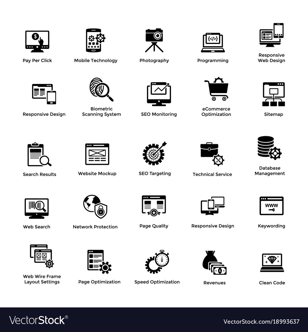 Web and graphic designing glyph icons set 2