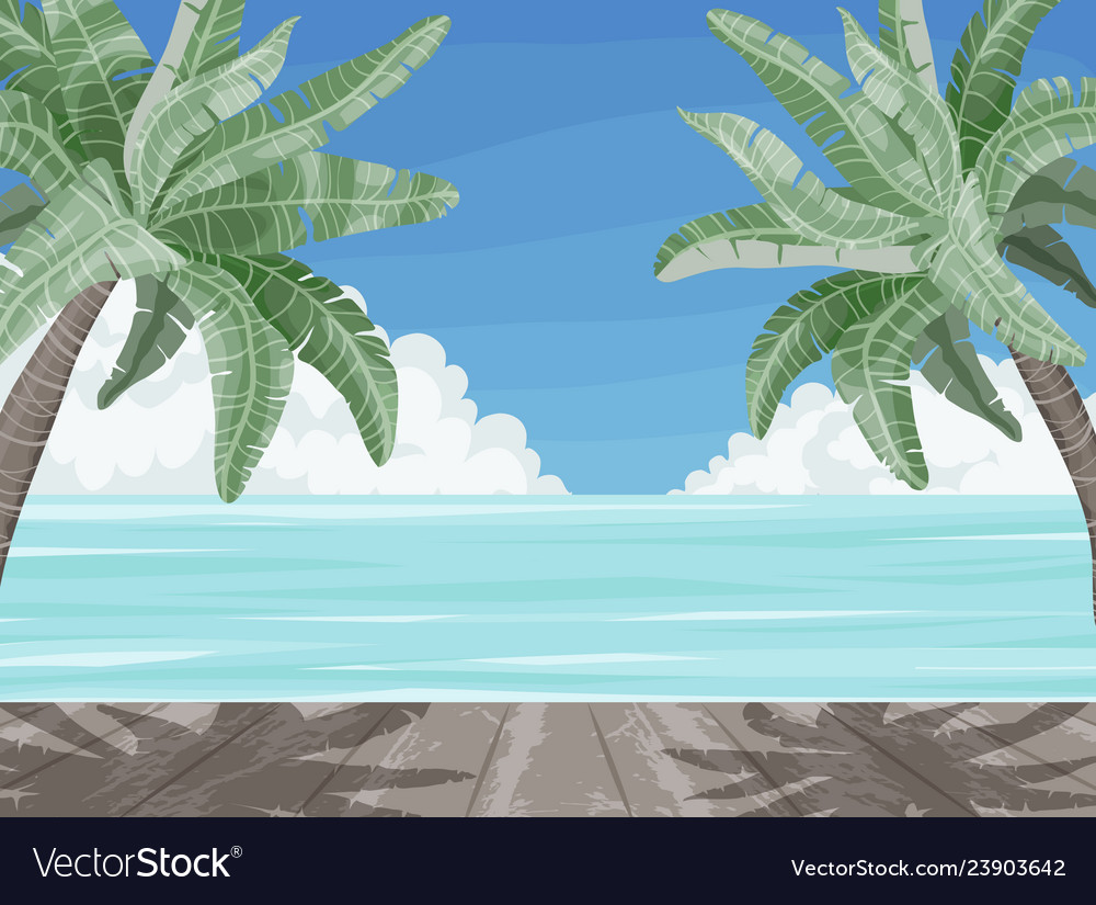 Beach and palm trees summer time paradise banner