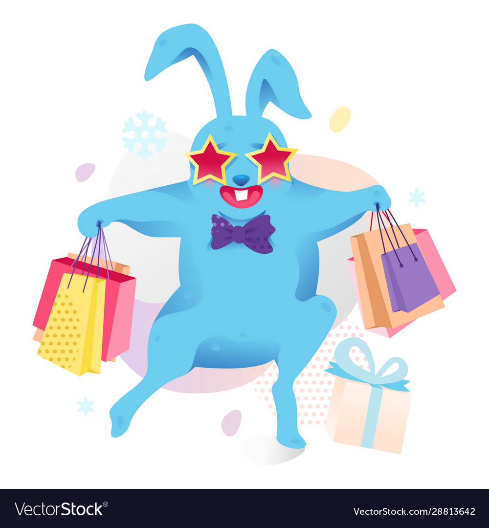 Blue bunny with shopping bags