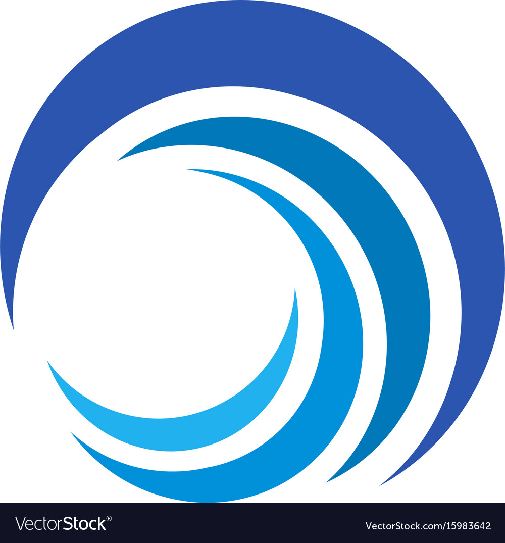 Blue wave logo isolated abstract decorative
