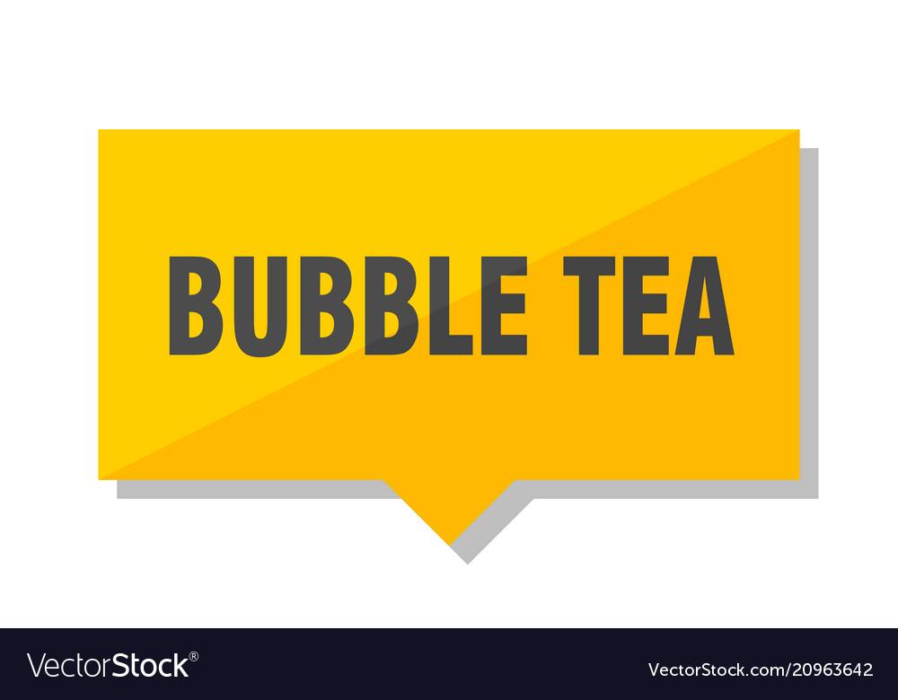 Bubble tea price tag vector image
