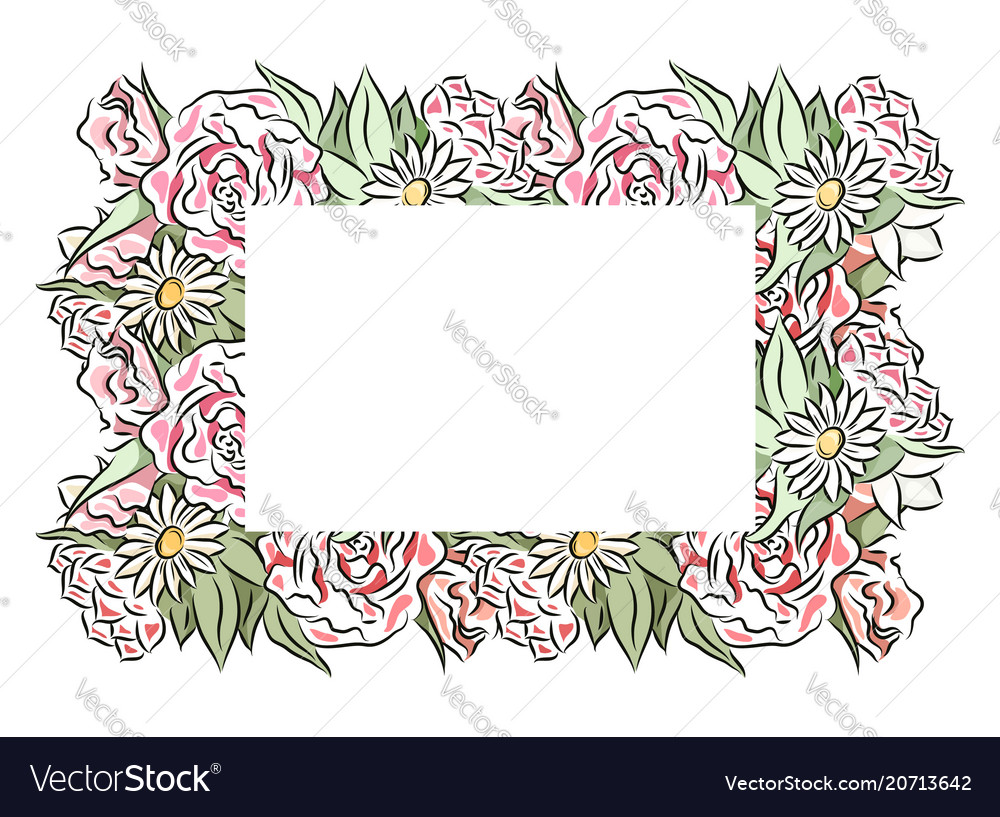 Delicate frame of hand drawn roses and chamomiles