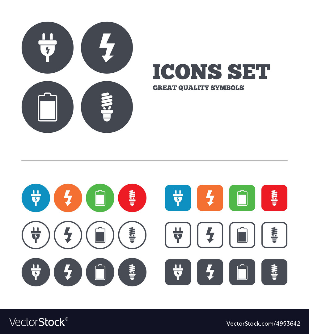 Electric plug sign Lamp and battery vector image