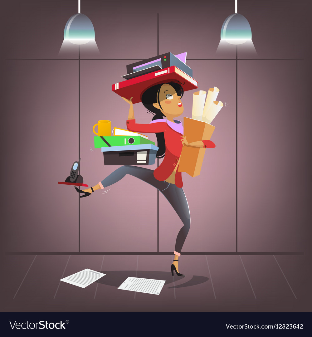 Female business character in cartoon style vector image