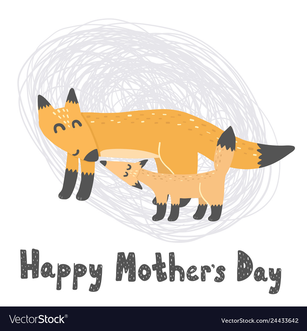 Happy mother s day card with cute foxes