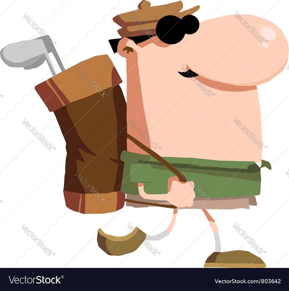 Male Golfer Carrying A Bag On His Back vector image