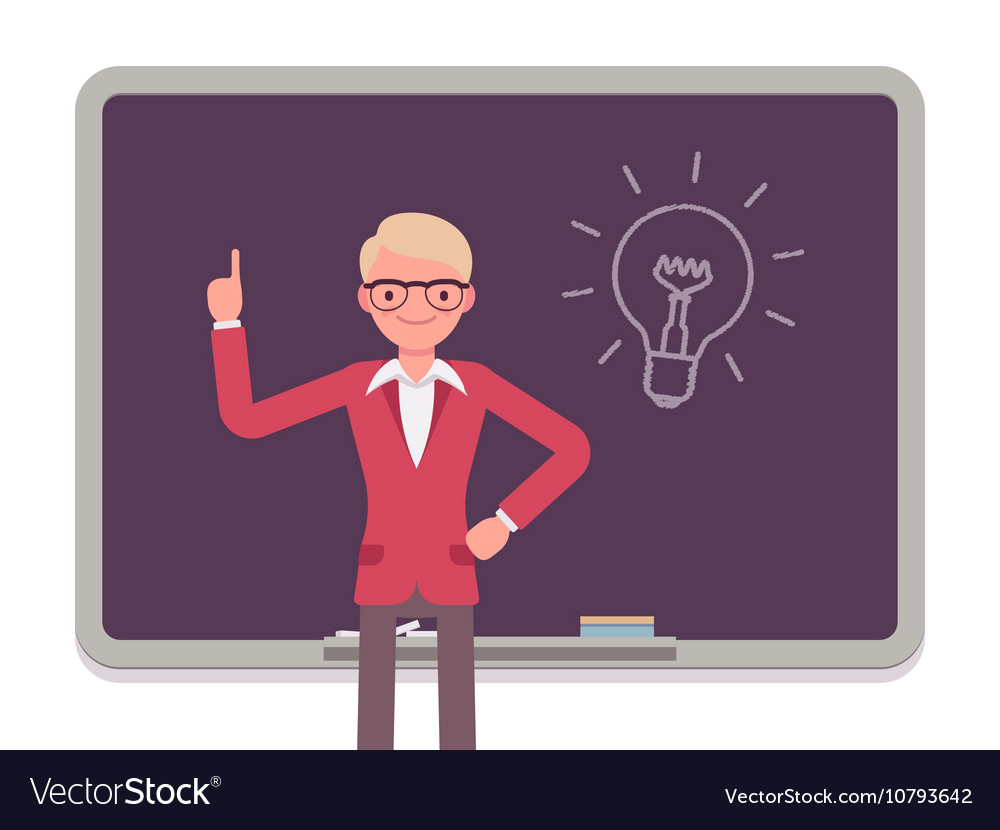 Man against the blackboard with drawn light bulb