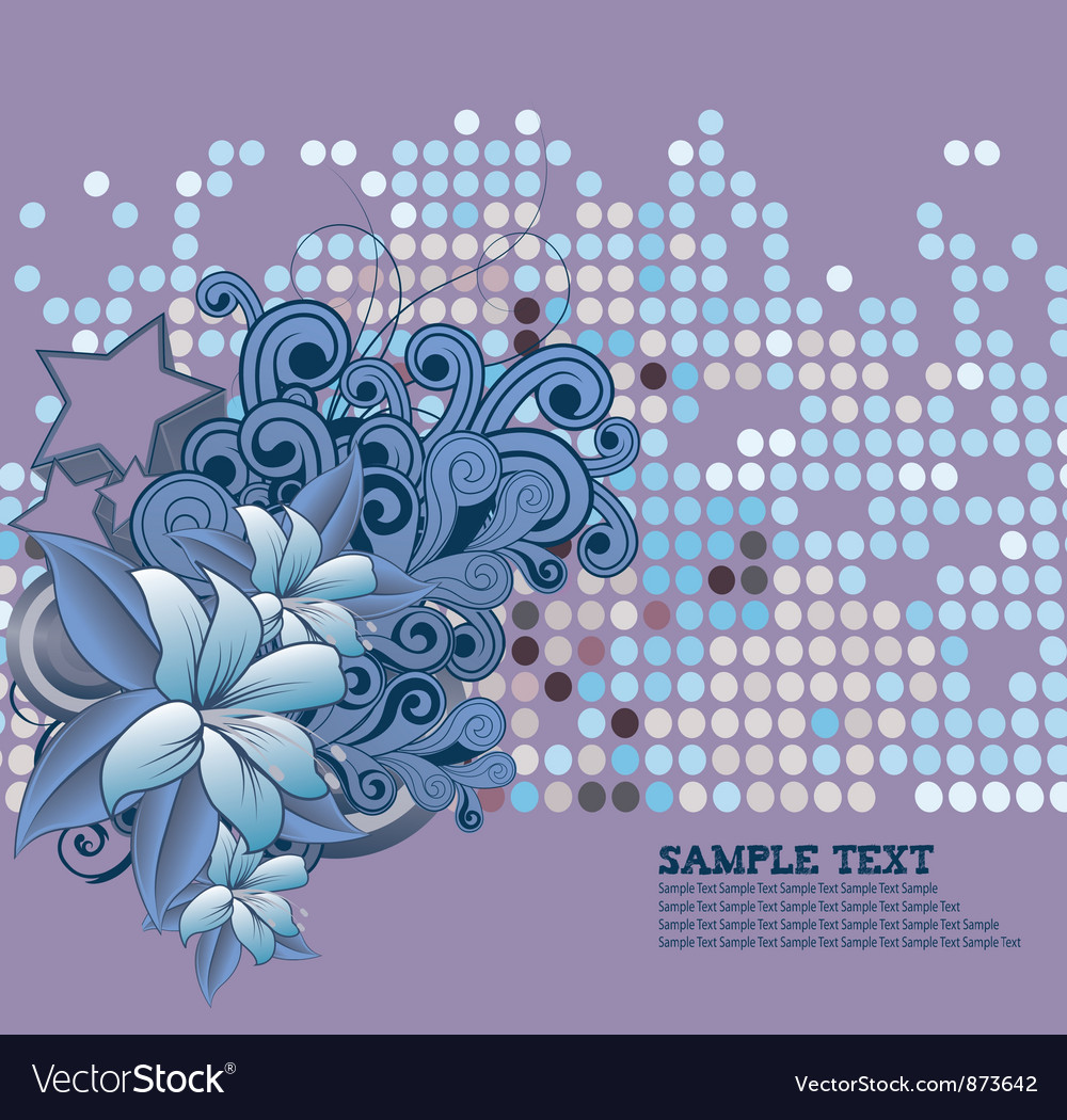 Retro floral background with stars vector image