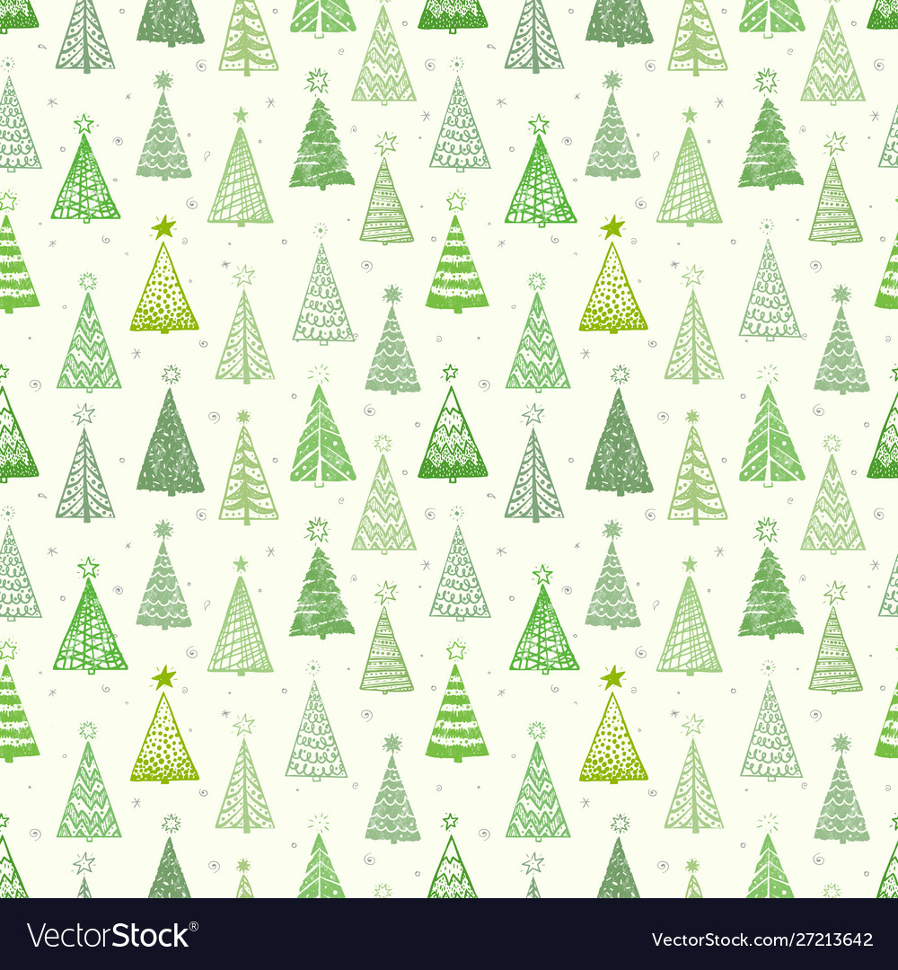 Seamless pattern with doodle christmas trees can