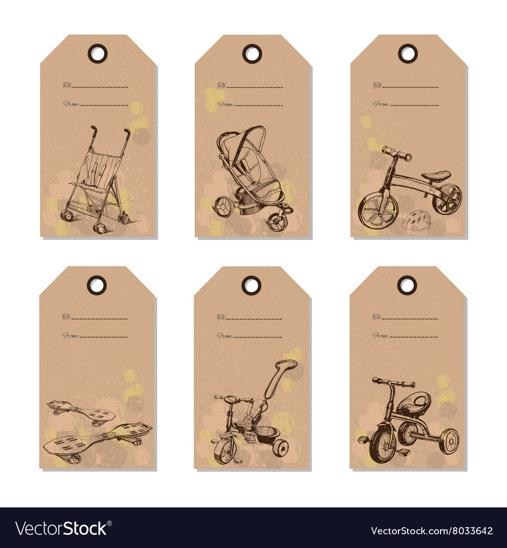 Set vintage baby transport gift card Hand drawn vector image
