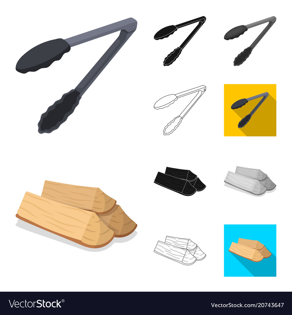 Barbecue and equipment cartoonblackflat vector image