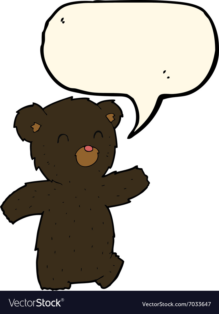 Cartoon black bear with speech bubble vector image