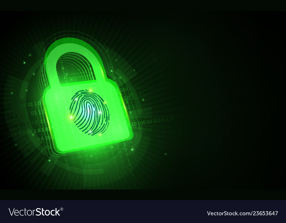 Cyber security and padlock with fingerprint