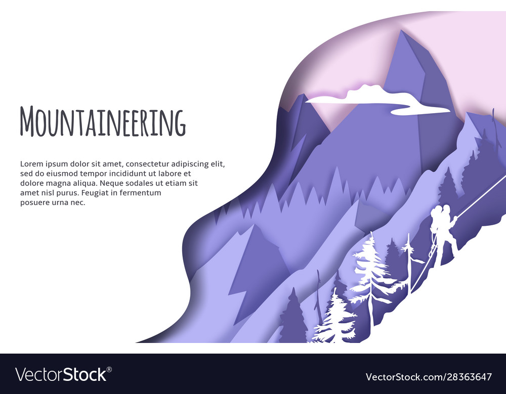 Mountaineering web banner template paper