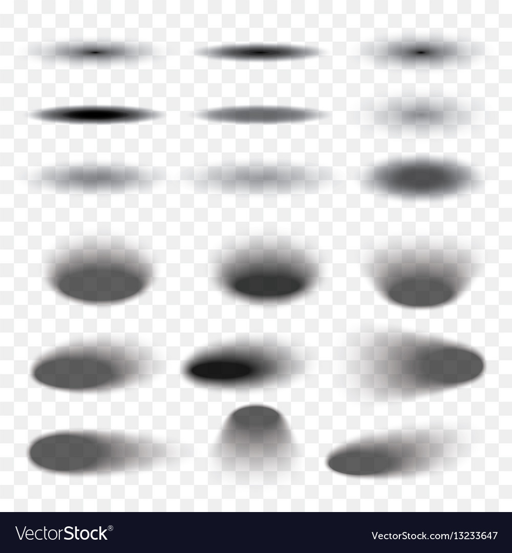 Oval shadow set transparent with soft edges