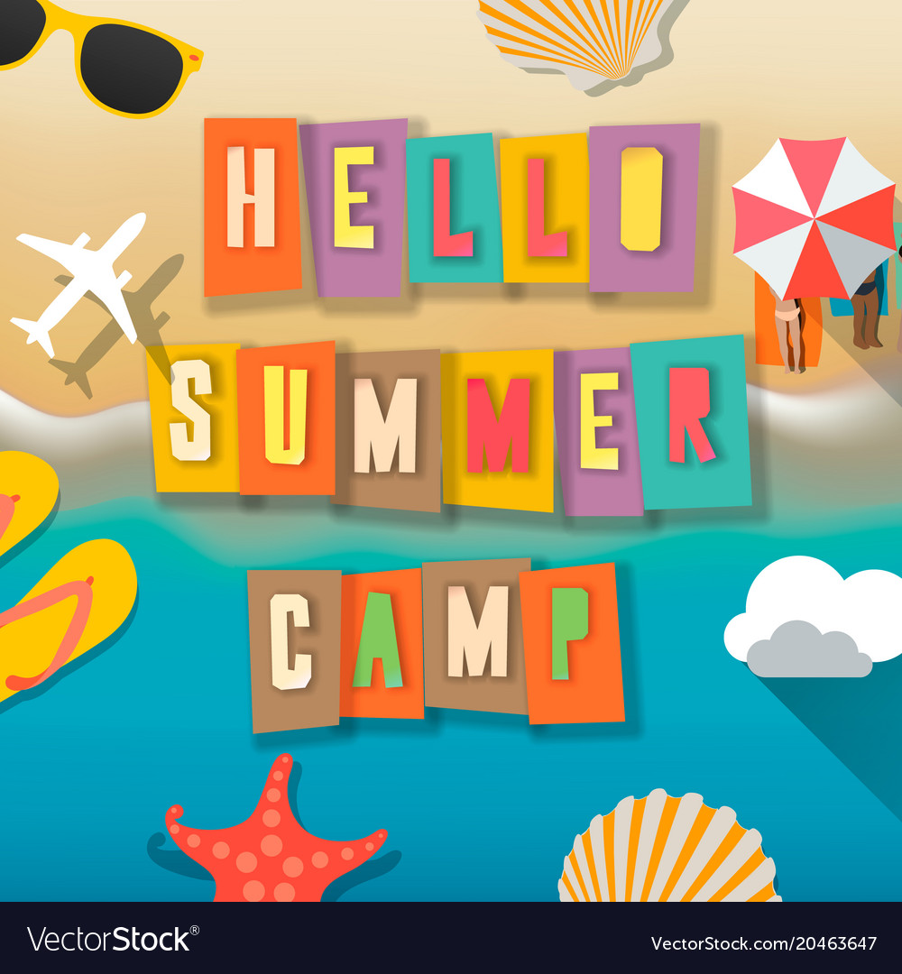 Summer camp for kids poster beach vector image
