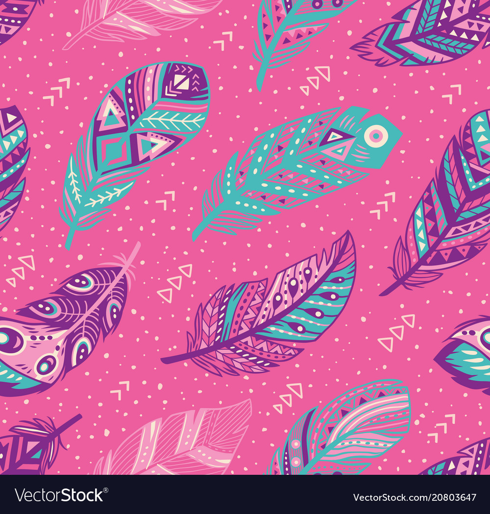 Tribal feathers pattern in blue pink and purple