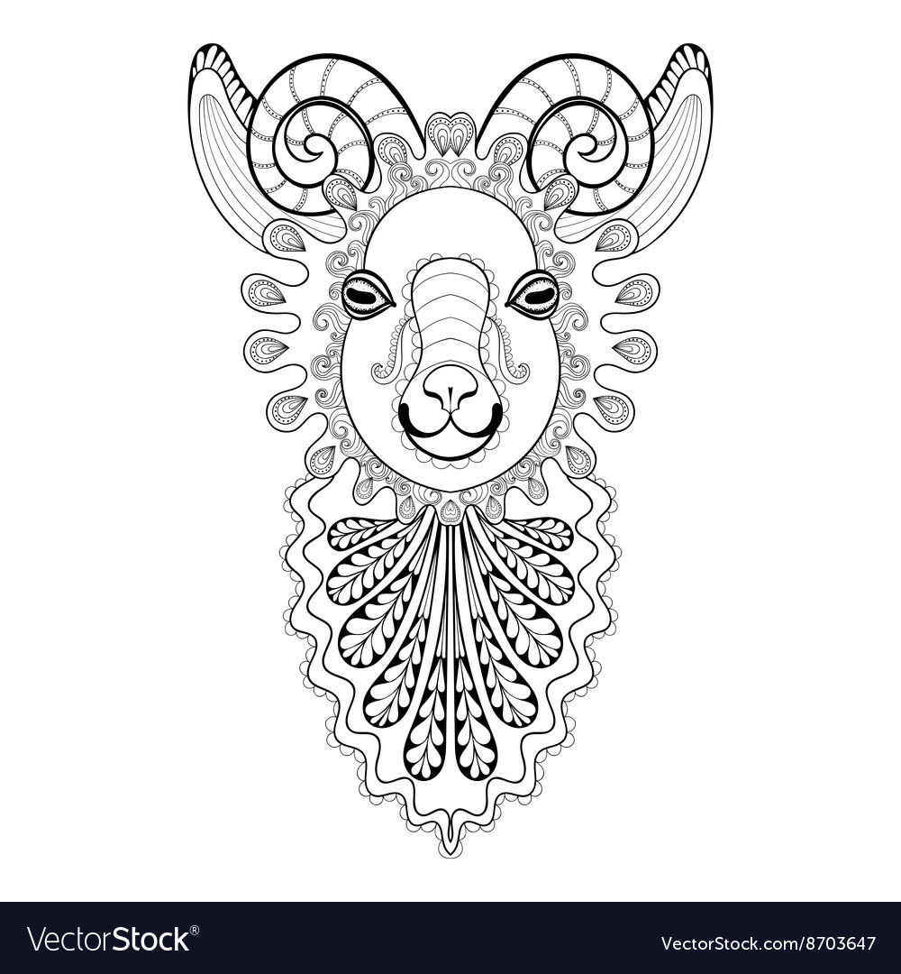 7daf53a72 Zentangle Ram Head Goat Royalty Free Vector Image