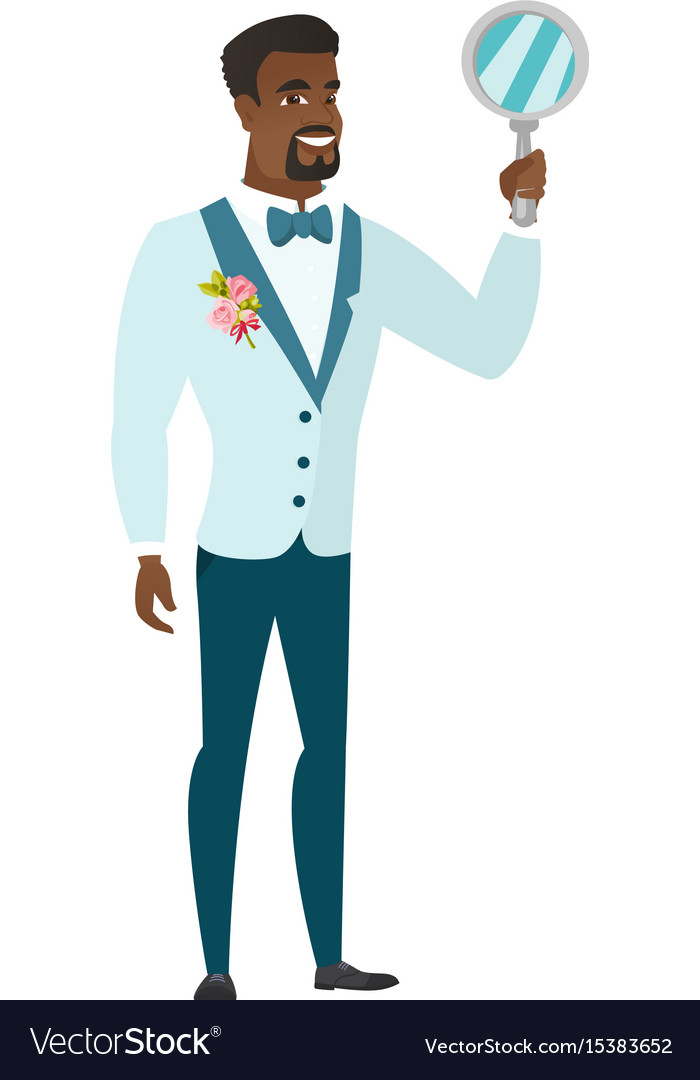 African-american groom holding hand mirror vector image