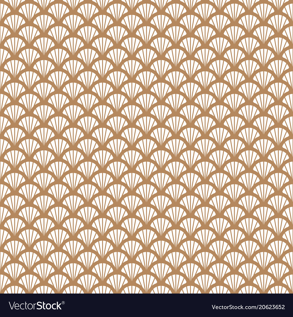 Art deco gold and white fish scale geometric style