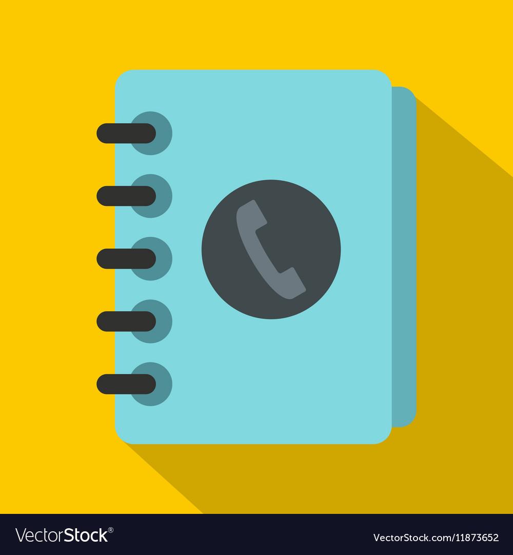 Blue address book icon flat style