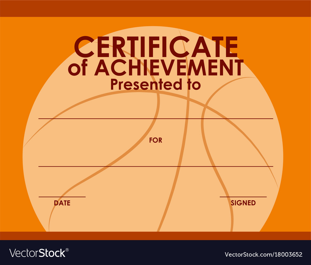 Certificate Template With Basketball Background Vector Image