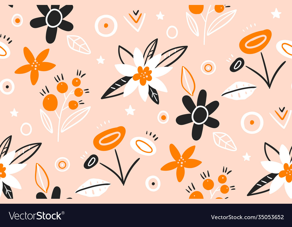 Cute pattern in small flower hand drawn creative