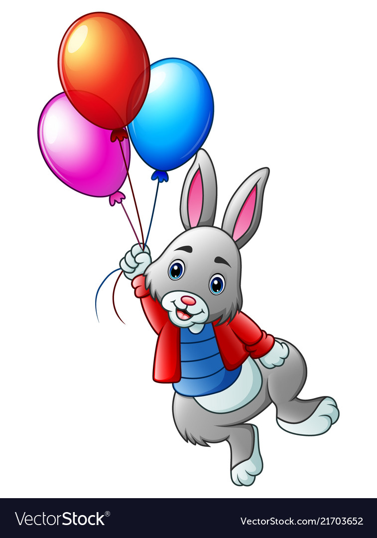 Cute rabbit flying with balloons on a white backgr