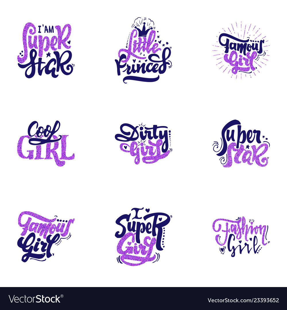 Fashion slogans - stickers with glitter on a