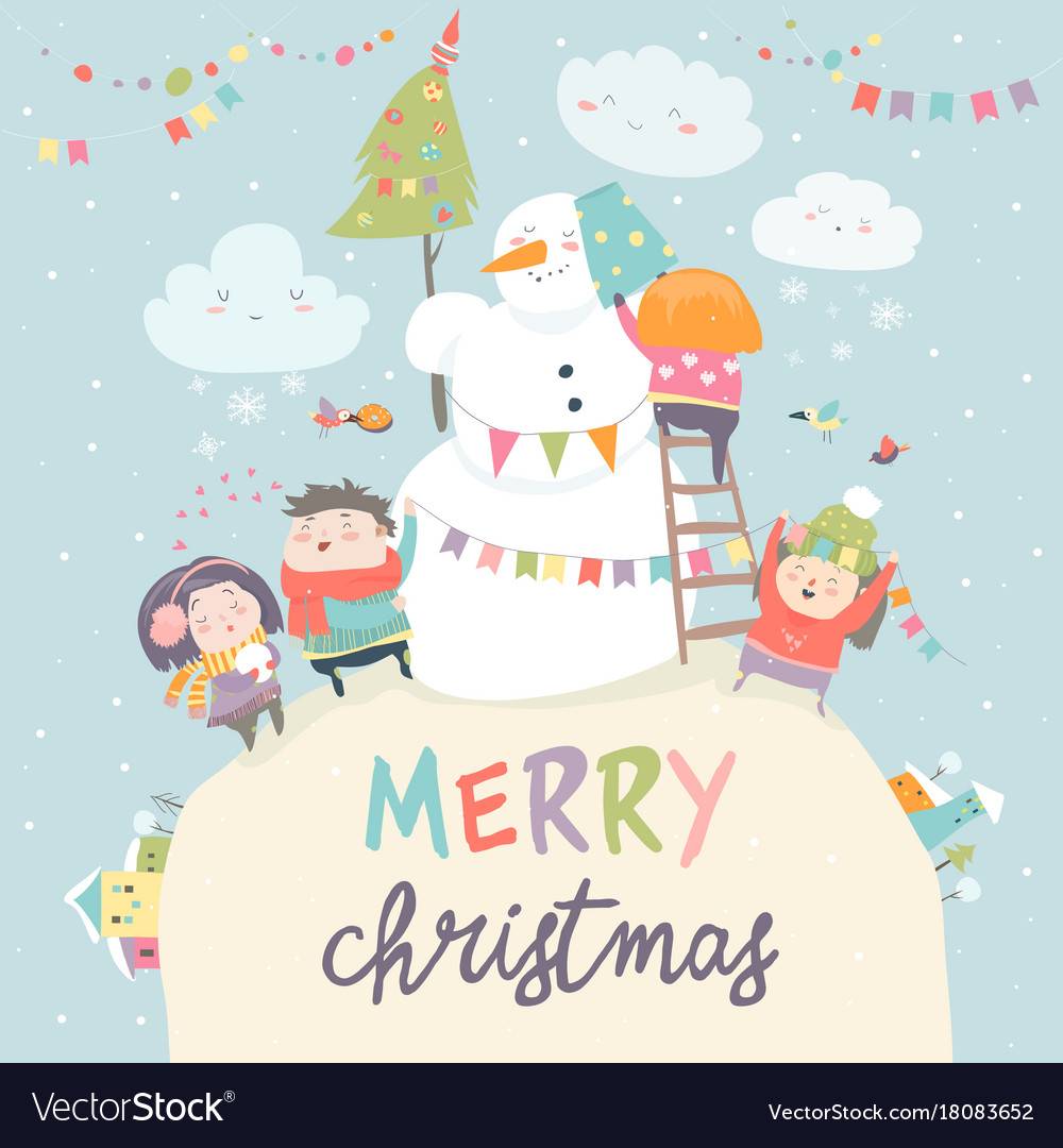 Happy children celebrating christmas vector image
