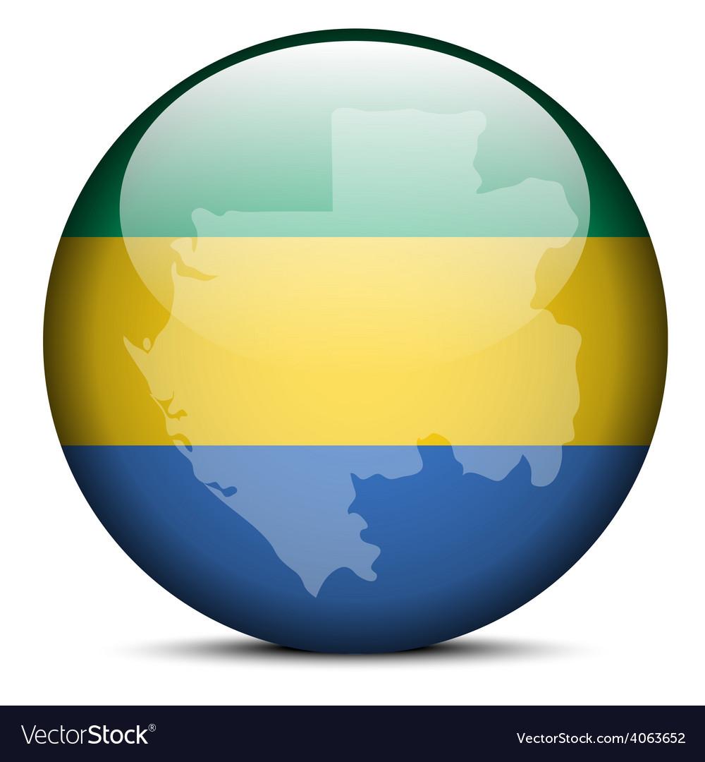 Map on flag button of Gabon Gabonese Republic