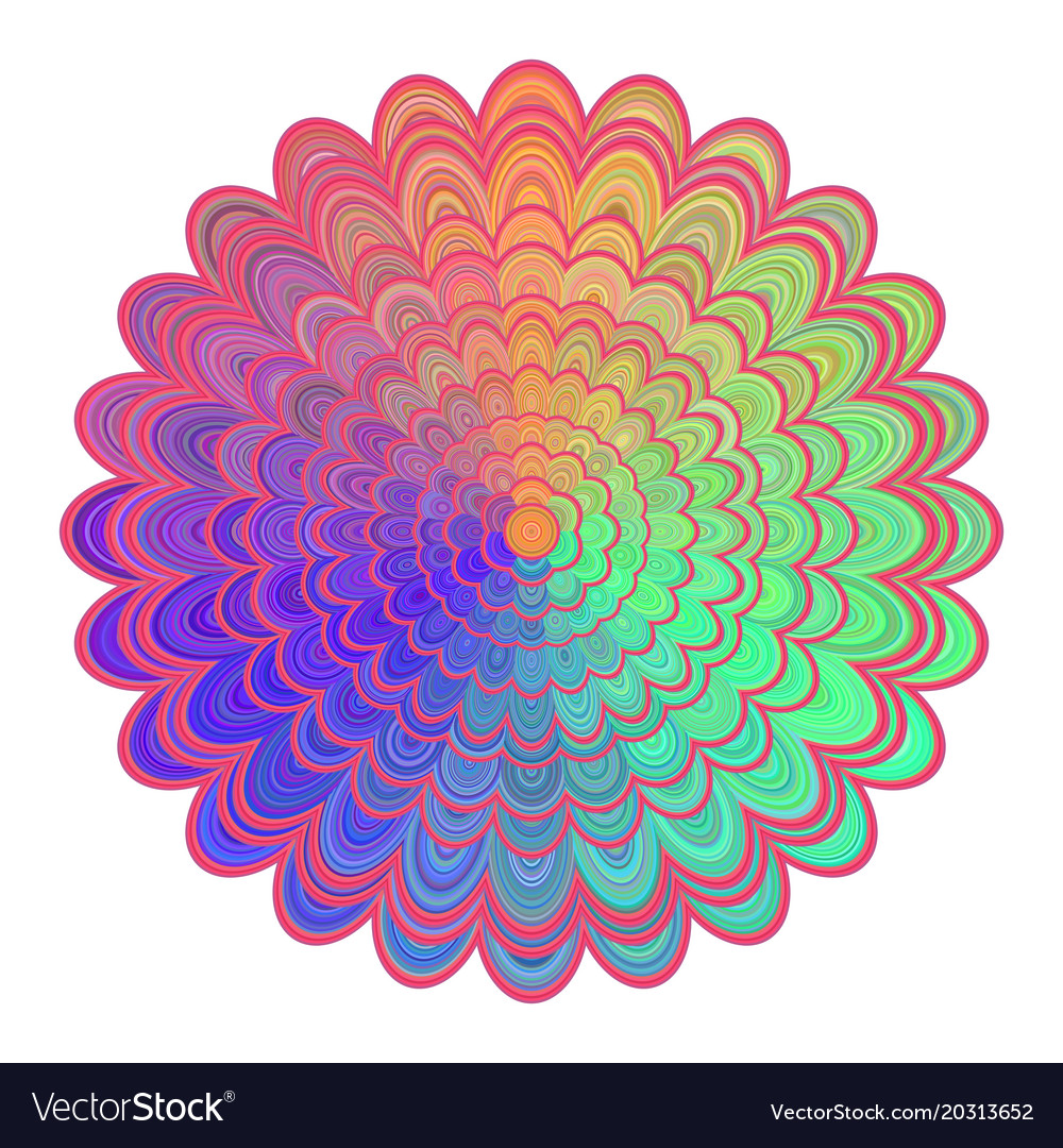 Multicolored abstract floral mandala design