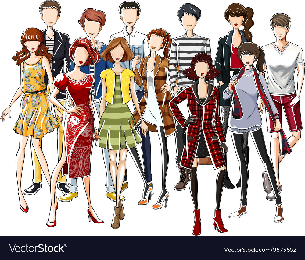 People wearing fashionable clothes vector image