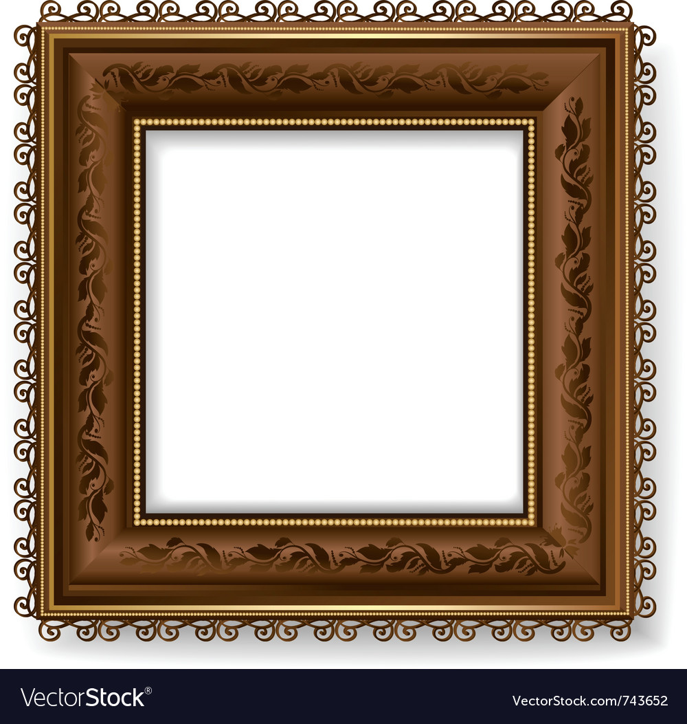 Retro vintage wooden frame Royalty Free Vector Image