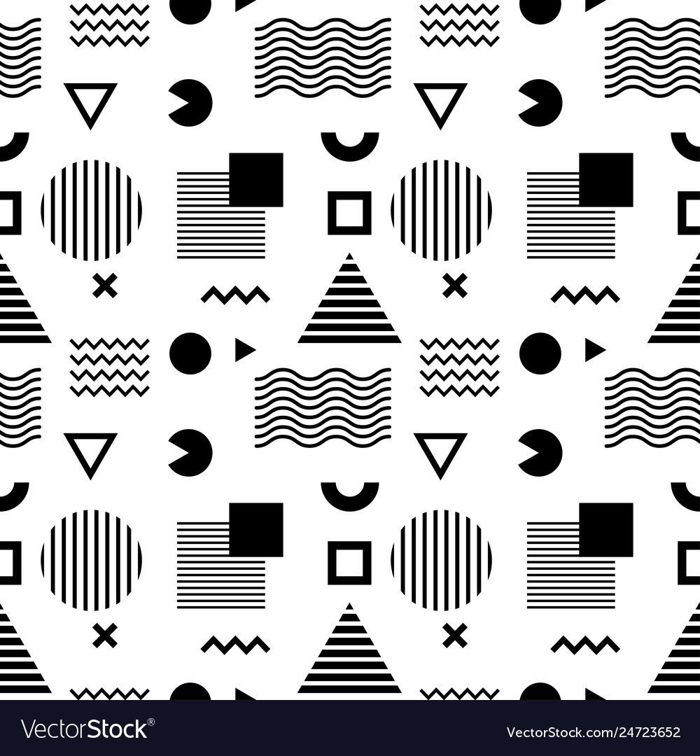 Seamless abstract pattern with black geometric