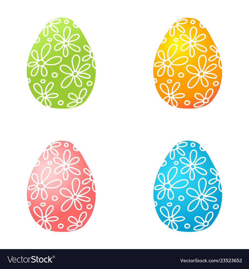 Set of colorful easter eggs easter eggs icons